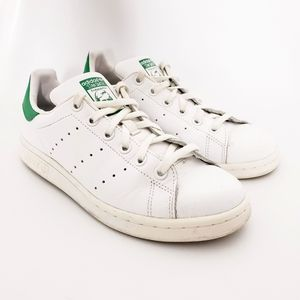Adidas Stan Smith White Green Lace Up Sneakers